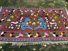 ANTIQUE LARGE UZBEK VINTAGE 100% HANDMADE EMBROIDERY ORIGINAL SUZANI