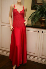 Vtg Rosa Puleo-Szule Lily Of France Lace Nylon Gown True Red Nightgown S Nwt