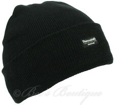 Mens Black Thinsulate Ribbed Beanie Hat 40gm One size Builders