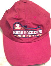 "Hard Rock Cafe CARDIFF Baseball HAT CAP Maroon Red ""MUSIC FOR LIFE"" HRC 71 New!"