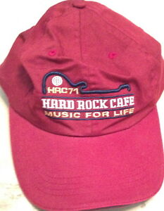 """Hard Rock Cafe CARDIFF Baseball HAT CAP Maroon Red """"MUSIC FOR LIFE"""" HRC 71 New!"""