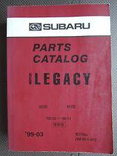 JDM SUBARU LEGACY Sedan Wagon BD BG Original Genuine Parts List Catalog