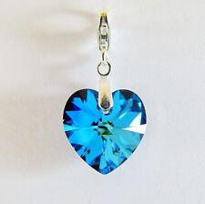 925 Sterling Silver Bracelet Charm Swarovski Elements Crystal Heart Bermuda Blue