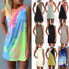 Plus Size Womens Summer Sleeveless Mini Tank Dress Casual Beach Sundress Top