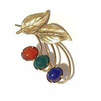 Vintage Scarab & Gold Tone Flower Brooch Pin