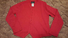 Ladies Pullover Cardigan Look Buttons Bright Red Metallic Sag Harbor Vneck Sz M