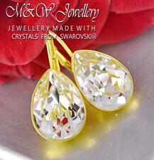Gold Plated 925 Silver Earrings PEAR CRYSTAL F14mm Crystals From Swarovski®