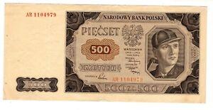 Pologne POLAND Billet 500 ZLOTYCH 1948 P140 OUVRIER  BON ETAT