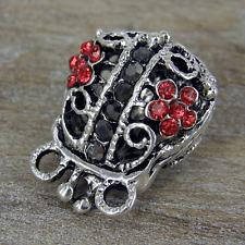 5 x  Rhinestone Purse Ruby Charms Antique Silver Alloy Pendants  CH24