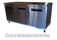 """Sun Ice Commercial 72"""" Undercounter 3 Door Reach In Refrigerator Cooler SUNUR-72"""