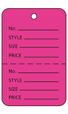 1000 Perforated Tags Price Sale 1 X 2 Two Part Hot Pink Coupon Unstrung