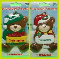 Christmas Ornament Teddy Bear Hat Gift Red Personalized Choose Name Xmas NIP