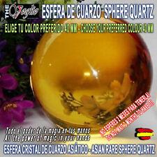 Esfera Bola de Cuarzo Cristal Color a Elegir 40mm Stand Asian Rare Sphere Quartz