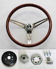 "70-77 Mustang Torino Maverick 15"" Wood Steering Wheel High Gloss Grip Cobra Cap"
