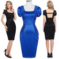 WOMEN VINTAGE 1940S 1950S PIN UP OFFICE WIGGLE PENCIL DRESS SIZE 4-18