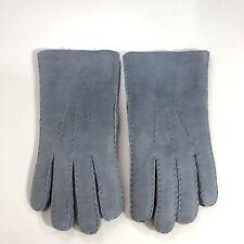 *Sz 10 Hestra Mens Gloves Sheepskin Three Point Detail Hand Sewn Soft Warm Gray