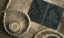 """Premium leather passport cover case """" Captain Columbus's Sailboat 3D Print"""" #1"""