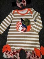 Baby Girl NWT size 12 Months Fall PUMPKIN Two Piece Ruffle Tee ROMPER Outfit 12M