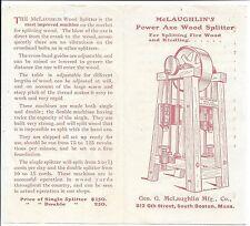 Illus. Brochure, McLaughlin's Power Axe Wood Splitter & Saw & Table, c1890s