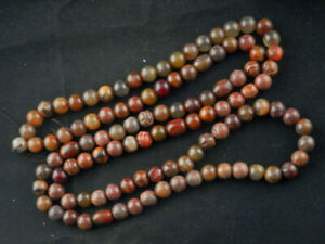 48 Inches Fine Long Chinese Old Jade Round Beads Prayer Necklace F006