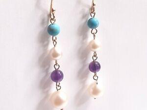 Vintage 9ct Gold Amethyst Pearl Turquoise Drop Earrings