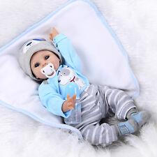 22'' Realistic Handmade Baby Boy Girl Silicone Vinyl Newborn Dolls +Clothes Blue