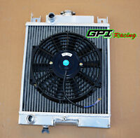 2 row Aluminum Radiator & Fan For 1989-1994 SUZUKI SWIFT GTI 1.0 1.3 1.6 Manual