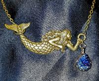 Antique Goldtone Bronze Mermaid Choker Necklace with Druzy Teardrop, Steampunk