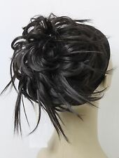 Tousled fly-a-way StrandsSyntheticHairpiece Bun Scrunchies Straight Elastic updo