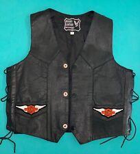 Authentic Harley Davidson Biker Genuine Black Leather Ladies Vest (size XXL)
