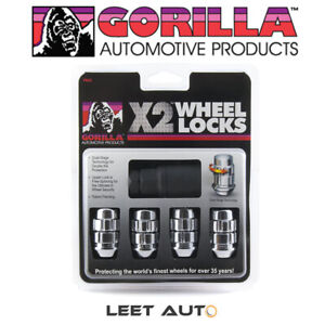 Gorilla X2 Wheel Locks, 12mm x 1.50 Thread, Bulge Acorn, Chrome, 12x1.5, 71631X