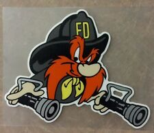 "Firefighter Yosemite Sam decal, Fire Department, custom made 4 1/2"" w   #FD134"