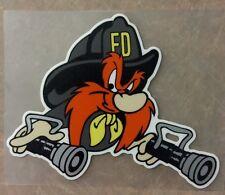 Firefighter Yosemite Sam decal, Fire Department, 2.5 W     #FD141