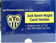 "200 STG 3x4 Clear Semi Rigid Card Holders 1/2"" Lip🔥In Stock🔥Priority Ship🔥"