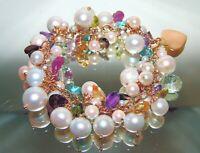 14k Gold Cultured Pearls Gemstone Cluster Charm Bracelet