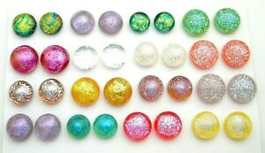 FOR POST EARRINGS TINY Lot 32 pcs round gorgeous DICHROIC FUSED GLASS (B19) CAB