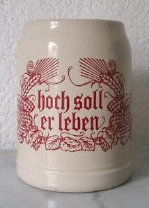 "älterer Bierkrug Krug Humpen Seidel Sammelkrug Steingut ""hoch soll er leben"""