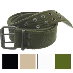 Military Double Prong Canvas Belt, Heavy Duty Army Pistol Grommet Two Hole 1.75""