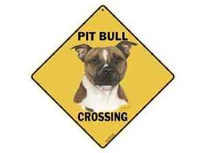 """New Pit Bull Terrier Crossing Xing Sign Aluminum Metal 12"""" x 12"""" Indoor Outdoor"""