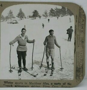 Antique Stereoview, Realistic Travels, Skiers, Maritime Alps, France