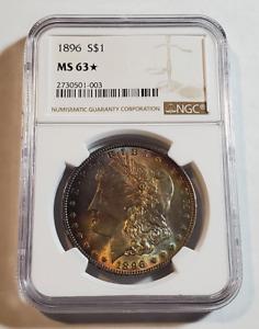 1896-P Morgan Silver Dollar $1 Graded NGC MS63* STAR - Nice Toning