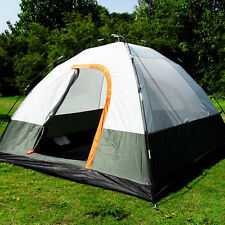 Green 3-4 Person Waterproof Camping Tent Double Layer Family Hiking Instant