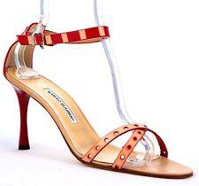 MANOLO BLAHNIK Avela Criss-Cross Beige/Red Leather Sandal Ankle Strap Heel sz 42