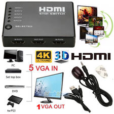 3D 1080p 5 Port 4K HDMI Switch Switcher Selector Splitter Hub IR Remote For