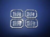 Set of 4 Antique Czech Intaglio Cut Salt Dishes 445-505