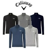 CALLAWAY 2019 BLENDED MERINO TOUR CHEST LOGO 1/4 ZIP GOLF JUMPER / SWEATER