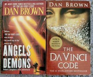 DAN BROWN DA VINCI CODE + ANGELS & DEMONS ROBERT LANGDON PAPERBACK 2 BOOK LOT