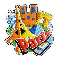 Paris Eiffel Tower Rubber Magnet Souvenir,Notre Dame, Arc , Sacre Coeur, NEW