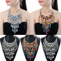 Fashion Women Statement Chain Crystal Collar Chunky Pendant Bib Necklace Jewelry