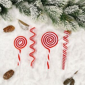 3D Christmas Red And White Candy Cane Charm Lollipop Simulation Xmas Candy